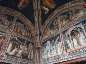 Frescos on wall of private room in San Miniato Church
