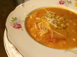 Frank's homemade chick pea soup at the apartment